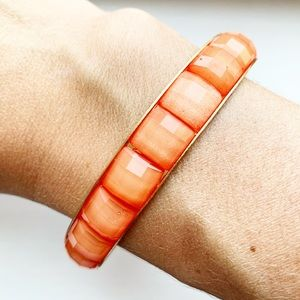 Vintage Anthro orange shimmer bead bangle bracelet